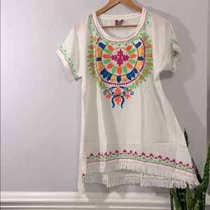Mexican Boho Gypsy Shirt Top Cover Up L/XL CUTE!!